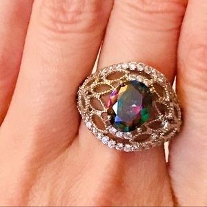Jewelry - NEW! GORGEOUS SPARKLING RAINBOW CRYSTAL 925 RING-7